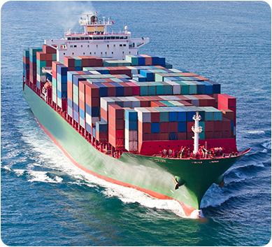 A cargo ship in the ocean