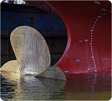 Propeller at the stern of a ship