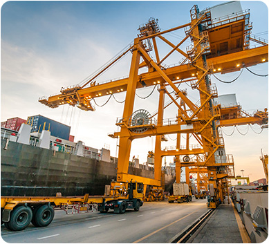 Crane on a loading dock