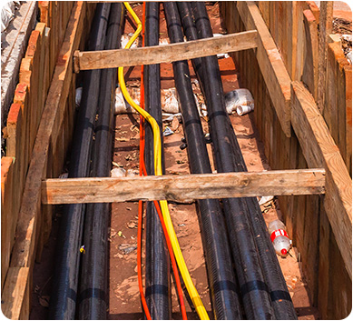URD cable shown on a construction site